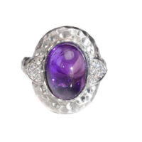 14Kt White Gold Ring with Amethyst and Diamonds