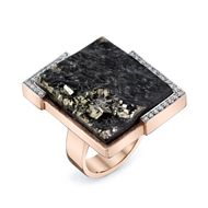 14kt Rose Gold Pyratized Slate Ring