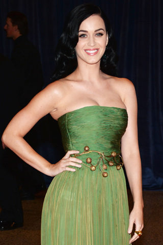 Katy Perry at the White House Correspondants Dinner wearing Adeler custom gold earrings