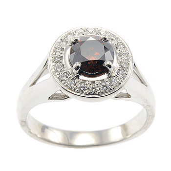 cognac diamond halo engagement ring