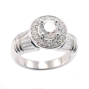 Diamond halo with baguettes engagement ring