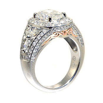 Oval diamond halo engagement ring side view